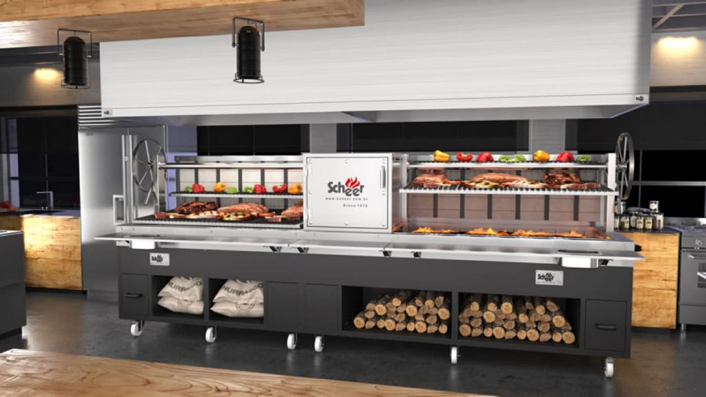 Commercial Kitchen with BBQ grills and rotissiers